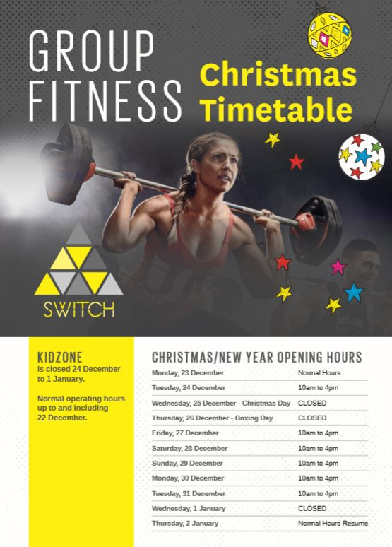 SWITCH Group Fitness Christmas Timetable
